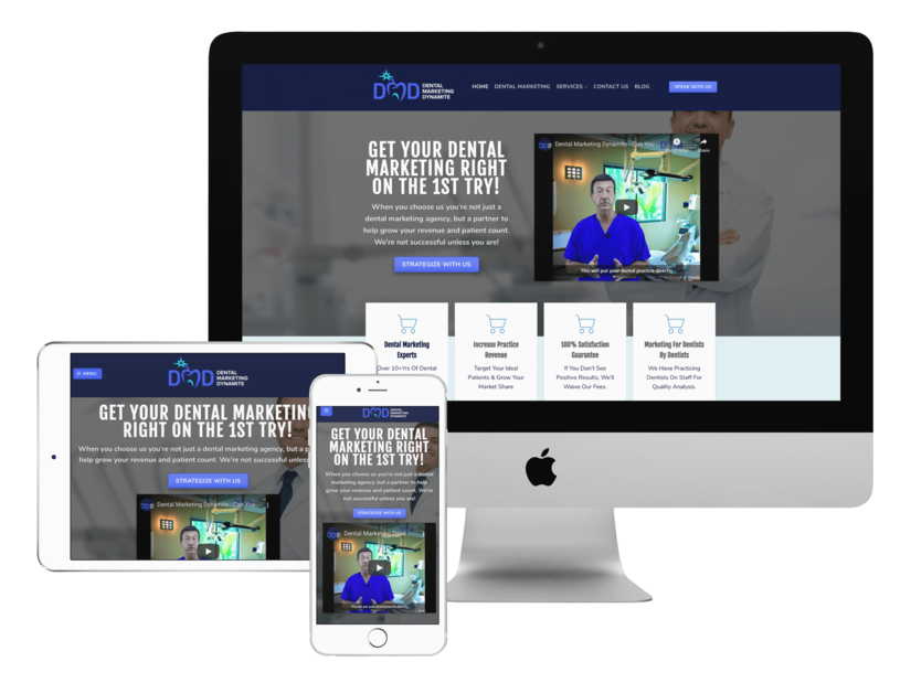mockup of responsive website design of dentalmarketingdynamite.com